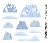 set of alpine mountains ... | Shutterstock .eps vector #747263968