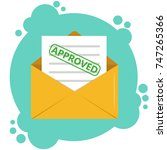 envelope with approved document ...   Shutterstock .eps vector #747265366