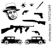 gangster italian mafia set.... | Shutterstock .eps vector #747271699