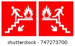 emergency fire exit downwards...   Shutterstock .eps vector #747273700