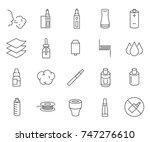 set of vape related vector line ...   Shutterstock .eps vector #747276610