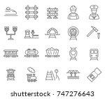 set of train related vector... | Shutterstock .eps vector #747276643