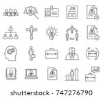 set of employment related... | Shutterstock .eps vector #747276790