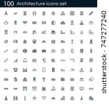 architecture icon set with 100... | Shutterstock .eps vector #747277240