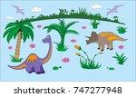 jurassic dinosaurs world kids... | Shutterstock .eps vector #747277948
