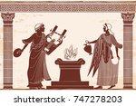 ancient greek goddess aphrodite ...   Shutterstock .eps vector #747278203