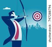 businessman aiming target.... | Shutterstock .eps vector #747288796
