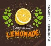 homemade lemonade design with... | Shutterstock .eps vector #747289060