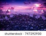 Purple Sea Sunset Landscape...