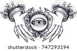 witch hands with all seeing... | Shutterstock .eps vector #747293194