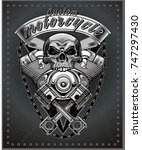 vintage motorcycle label | Shutterstock . vector #747297430