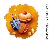 happy hannukah  chanukah...   Shutterstock . vector #747302590