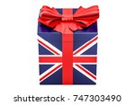 gift box with flag of great...   Shutterstock . vector #747303490
