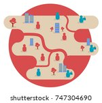 town map background vector... | Shutterstock .eps vector #747304690