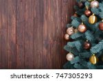 chistmas tree background with... | Shutterstock . vector #747305293