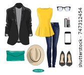 casual spring outfit set for... | Shutterstock .eps vector #747312454