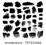 set of grunge painted vector... | Shutterstock .eps vector #747312466