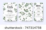 wedding invite invitation menu  ... | Shutterstock .eps vector #747314758