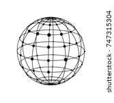 wireframe sphere with dots | Shutterstock .eps vector #747315304
