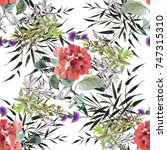 colorful watercolor wildflowers ...   Shutterstock . vector #747315310