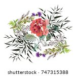 colorful watercolor wildflowers ... | Shutterstock . vector #747315388