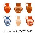 set of ceramic crockery.  | Shutterstock .eps vector #747323659