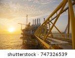 offshore construction platform... | Shutterstock . vector #747326539
