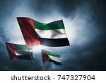 united arab emirates flags... | Shutterstock . vector #747327904