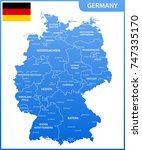 the detailed map of the germany ... | Shutterstock .eps vector #747335170