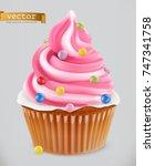 cupcake  fairy cake. 3d... | Shutterstock .eps vector #747341758