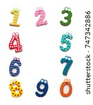 funny number isolated on white... | Shutterstock . vector #747342886