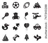 toys icons. black flat design.... | Shutterstock .eps vector #747343288
