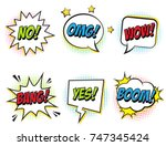 retro comic speech bubbles set... | Shutterstock .eps vector #747345424