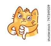 cute ginger cat  thumbs down ... | Shutterstock .eps vector #747349339