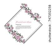 flower frame of rose. drawing... | Shutterstock .eps vector #747352258