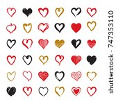 set of hand drawn hearts.... | Shutterstock .eps vector #747353110