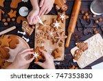 christmas bakery. friends... | Shutterstock . vector #747353830