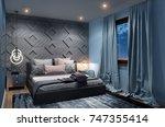 cozy modern bedroom with... | Shutterstock . vector #747355414