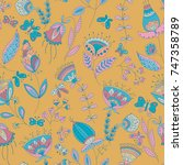 vector flower pattern.colorful... | Shutterstock .eps vector #747358789