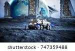 military car on moon with...   Shutterstock . vector #747359488