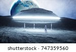 flying saucer with alien on... | Shutterstock . vector #747359560