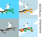 bird on branch in the different ... | Shutterstock .eps vector #747362230