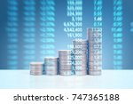graph coins stock finance and... | Shutterstock . vector #747365188