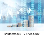 graph coins stock finance and... | Shutterstock . vector #747365209