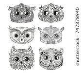 owls. heads. design zentangle.... | Shutterstock . vector #747378940