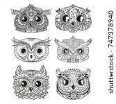 owls. heads. design zentangle.... | Shutterstock . vector #747378940