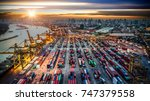 container ship in import export ... | Shutterstock . vector #747379558