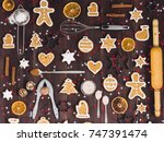 christmas cookie tree made with ... | Shutterstock . vector #747391474