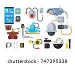 cctv device of set design flat. ... | Shutterstock .eps vector #747395338