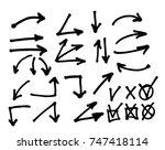 hand drawn arrow set.... | Shutterstock . vector #747418114